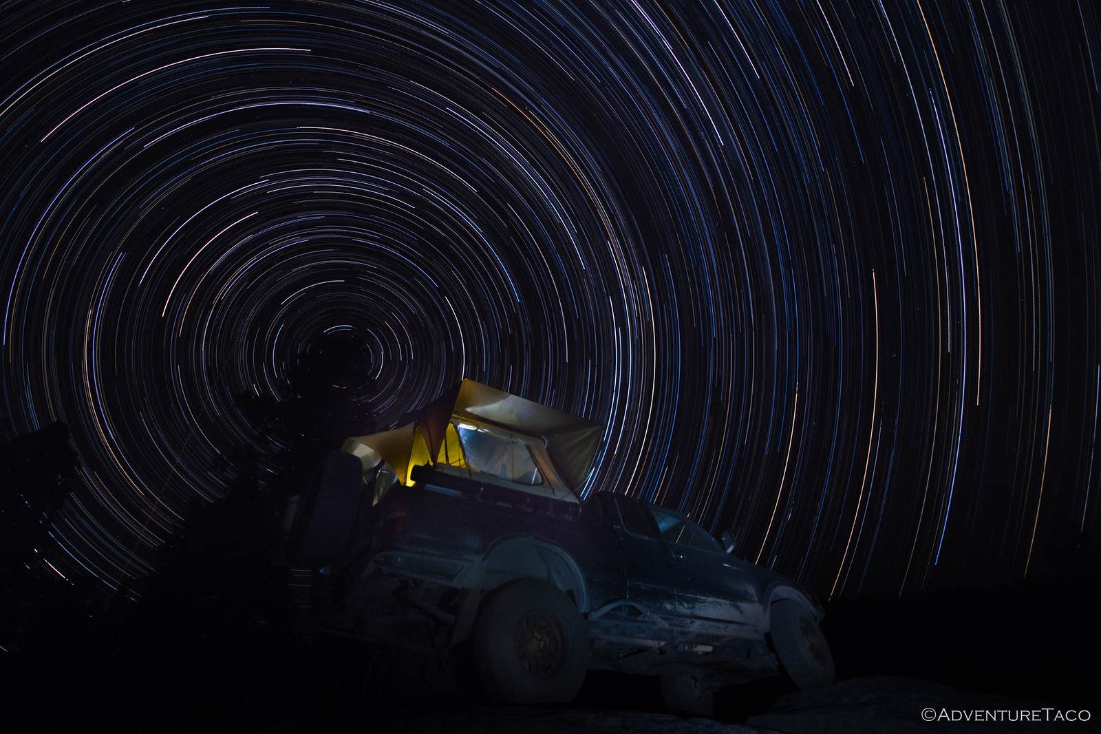 star trails behind toyota tacoma
