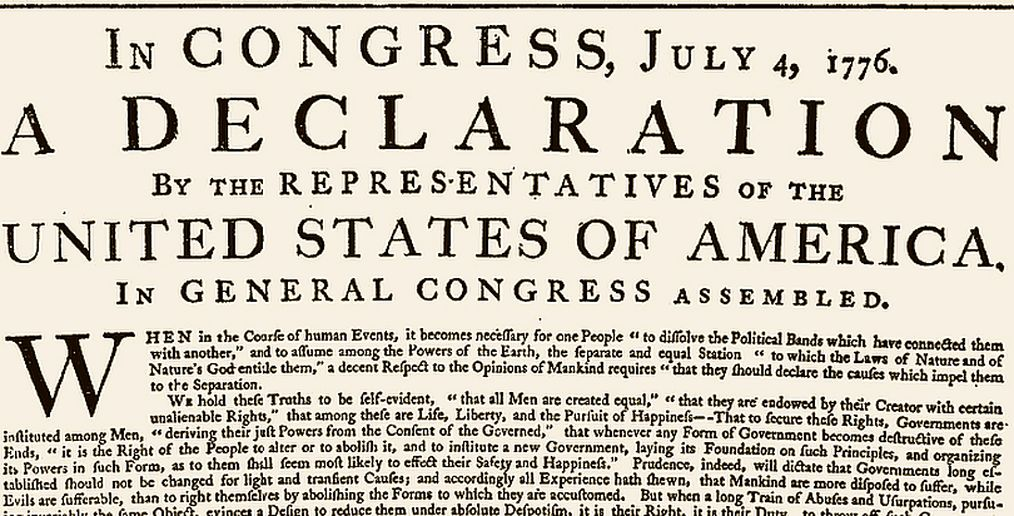 The opening of the original printing of the Declaration, printed on July 4, 1776, under Jefferson's supervision. This is the original printing sent to the states & Army. It differs from the