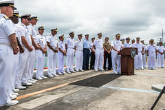 PEARL HARBOR (June 28, 2018) Vice Adm. John D. Alexander, commander of U.S. 3rd Fleet, and multinational participants answer questions about the Rim of the Pacific (RIMPAC) 2018 exercise during a press conference at Joint Base Pearl Harbor-Hickam. Twenty-five nations, more than 45 ships and submarines, about 200 aircraft and 25,000 personnel are participating in RIMPAC from June 27 to Aug. 2 in and around the Hawaiian Islands and Southern California. The world's largest international maritime exercise, RIMPAC provides a unique training opportunity while fostering and sustaining cooperative relationships among participants critical to ensuring the safety of sea lanes and security of the world's oceans. RIMPAC 2018 is the 26th exercise in the series that began in 1971. (U.S. Navy photo by Mass Communication Specialist 2nd Class Daniel James Lanari/Released)