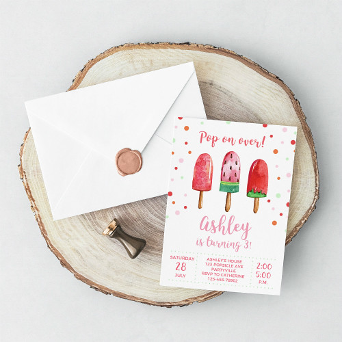 Fruity Popsicle Party Invitation