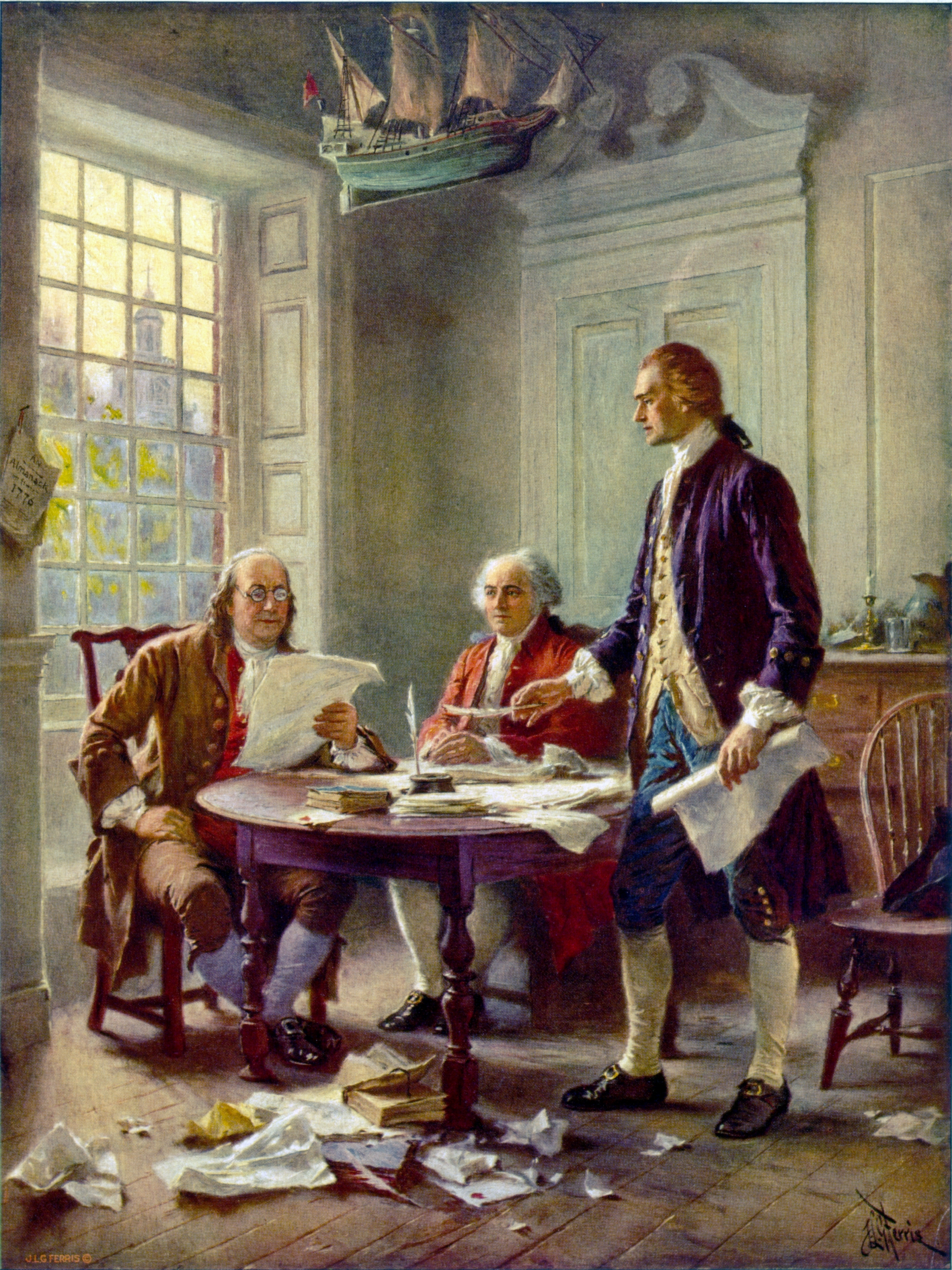 This idealized depiction of Thomas Jefferson (right), Benjamin Franklin (left), and John Adams (center) working on the Declaration of Independence was widely reprinted. The painting by Jean Leon Gerome Ferris, an American painter best known for his series of 78 scenes from American history entitled