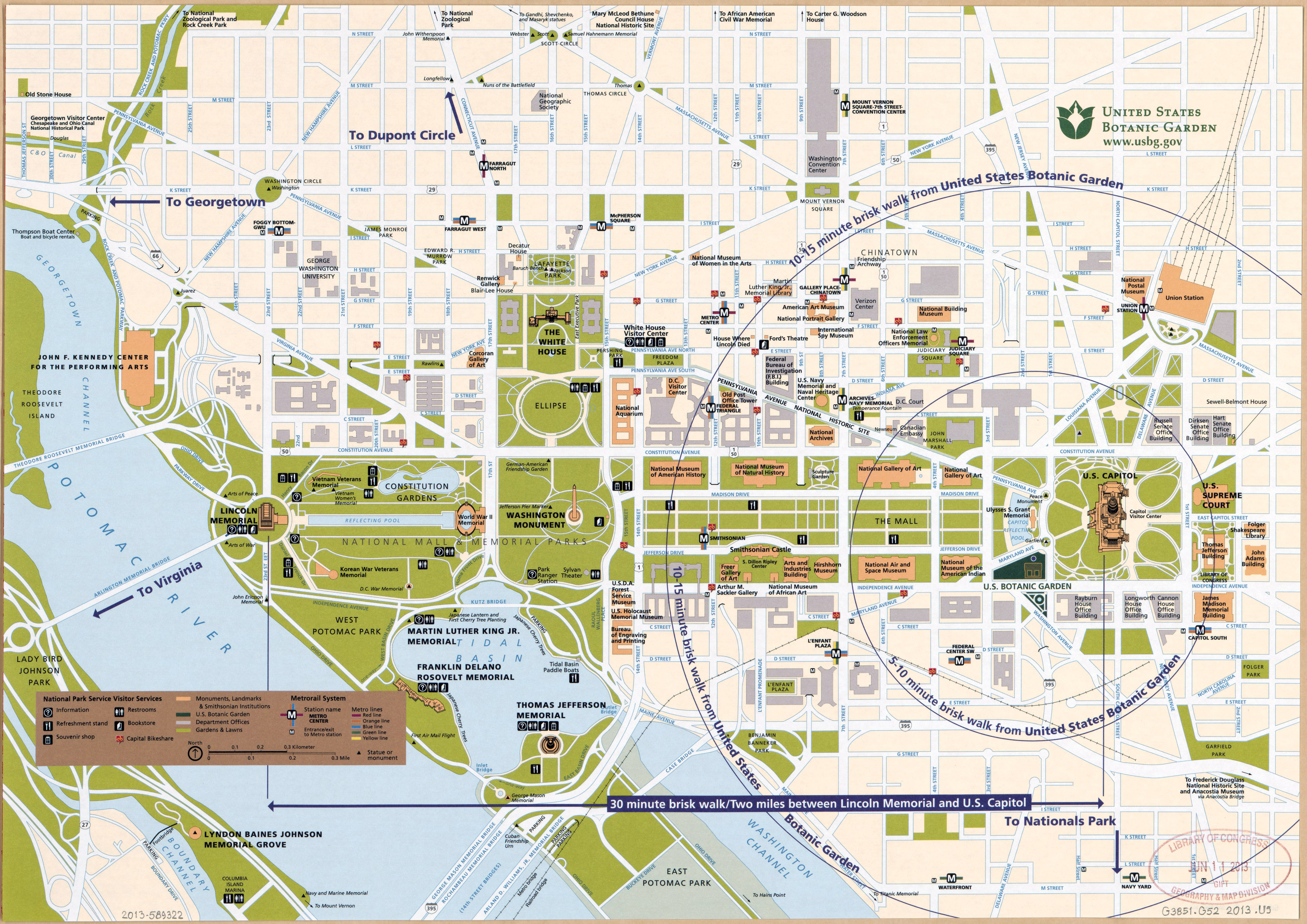 Map of central Washington, D.C. with The National Mall