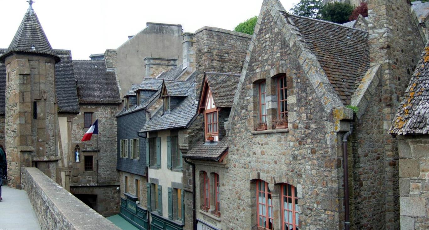 The village of Mont Saint-Michel, Normandy, France.