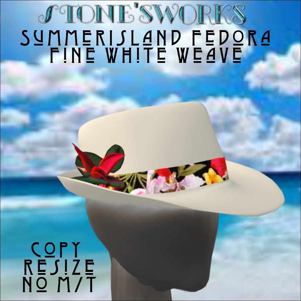 FEDORA Wht Summer Island Stone's Works - TeleportHub.com Live!