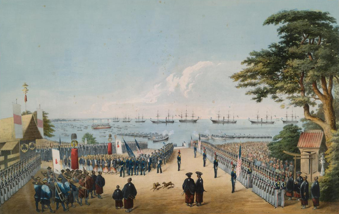 Perry's return to Japan on March 8, 1854. Lithography. New York: E. Brown, Jr., circa 1855-1856.