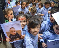 Kids protesting against the violence in Shatila refugee camp, Beirut, Lebanon
