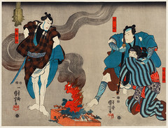 Oyone Magoshichi Taheiji by Utagawa Kuniyoshi (1798-1861), a woodcut diptychs of the traditional Japanese play with three actors, two male with sword, one protecting a woman and one intimidating them. Digitally enhanced from our own original edition.