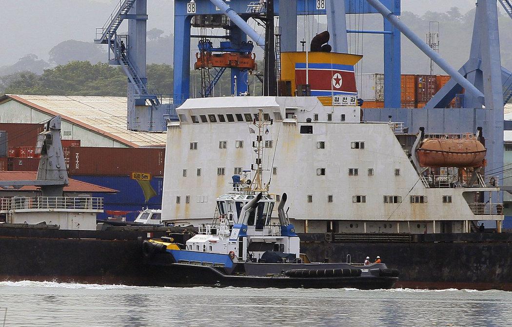 North Korean cargo ship Chong Chon Gang seized at Panama Canal, July 2013.