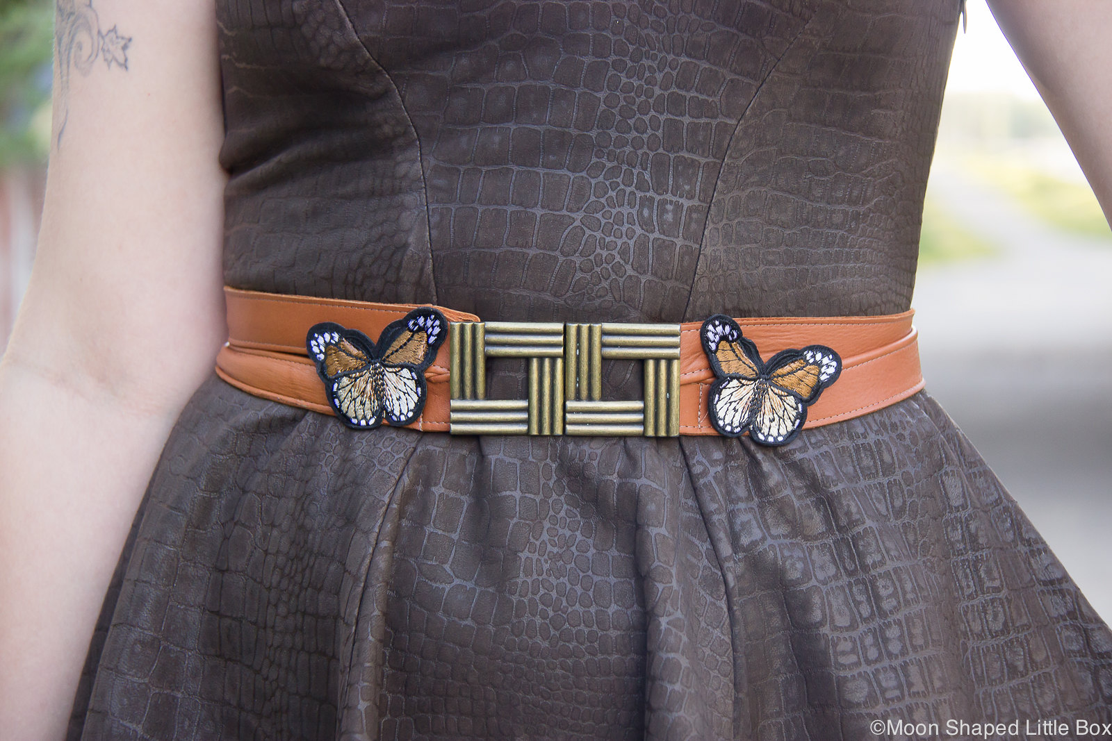 Belt, cognac, reindeer leather, butterflies