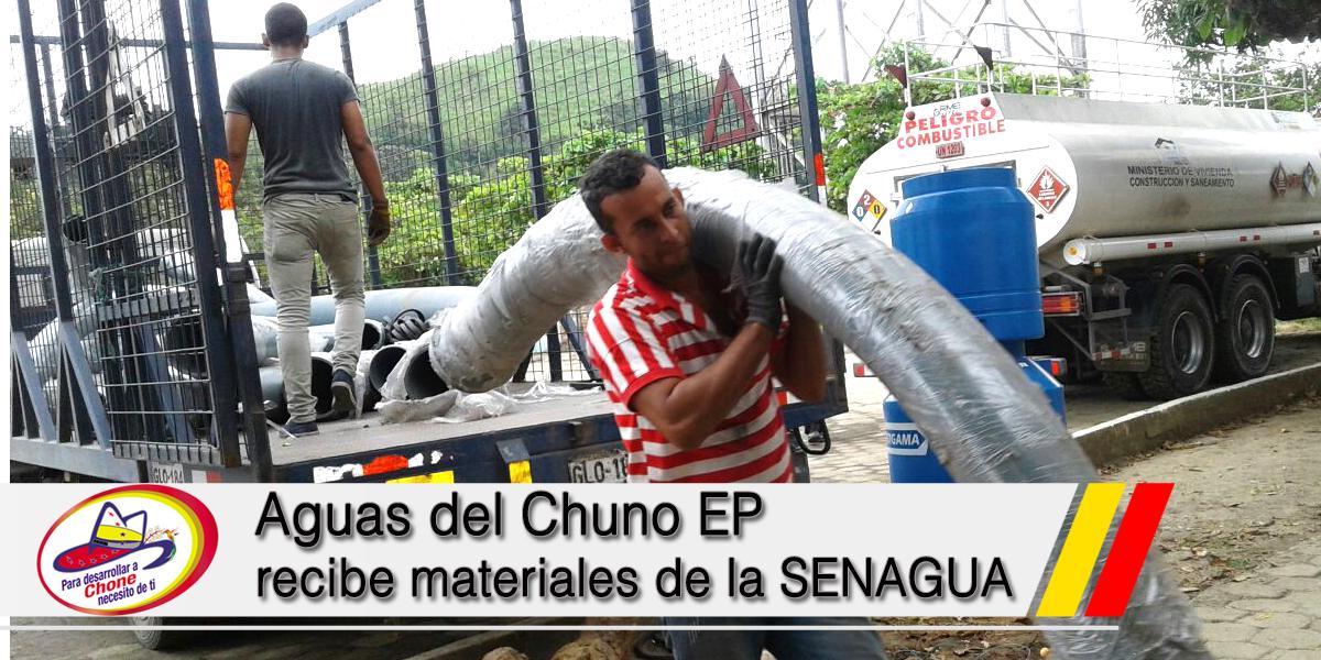 Aguas del Chuno EP recibe materiales de la SENAGUA