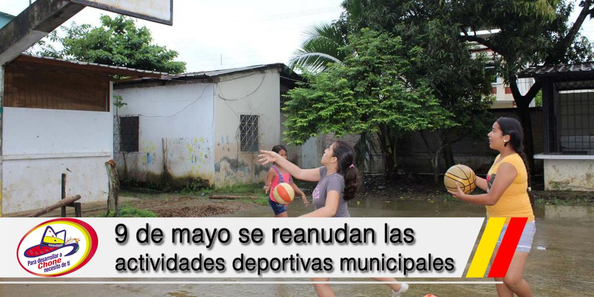 9 de mayo se reanudan las actividades deportivas municipales