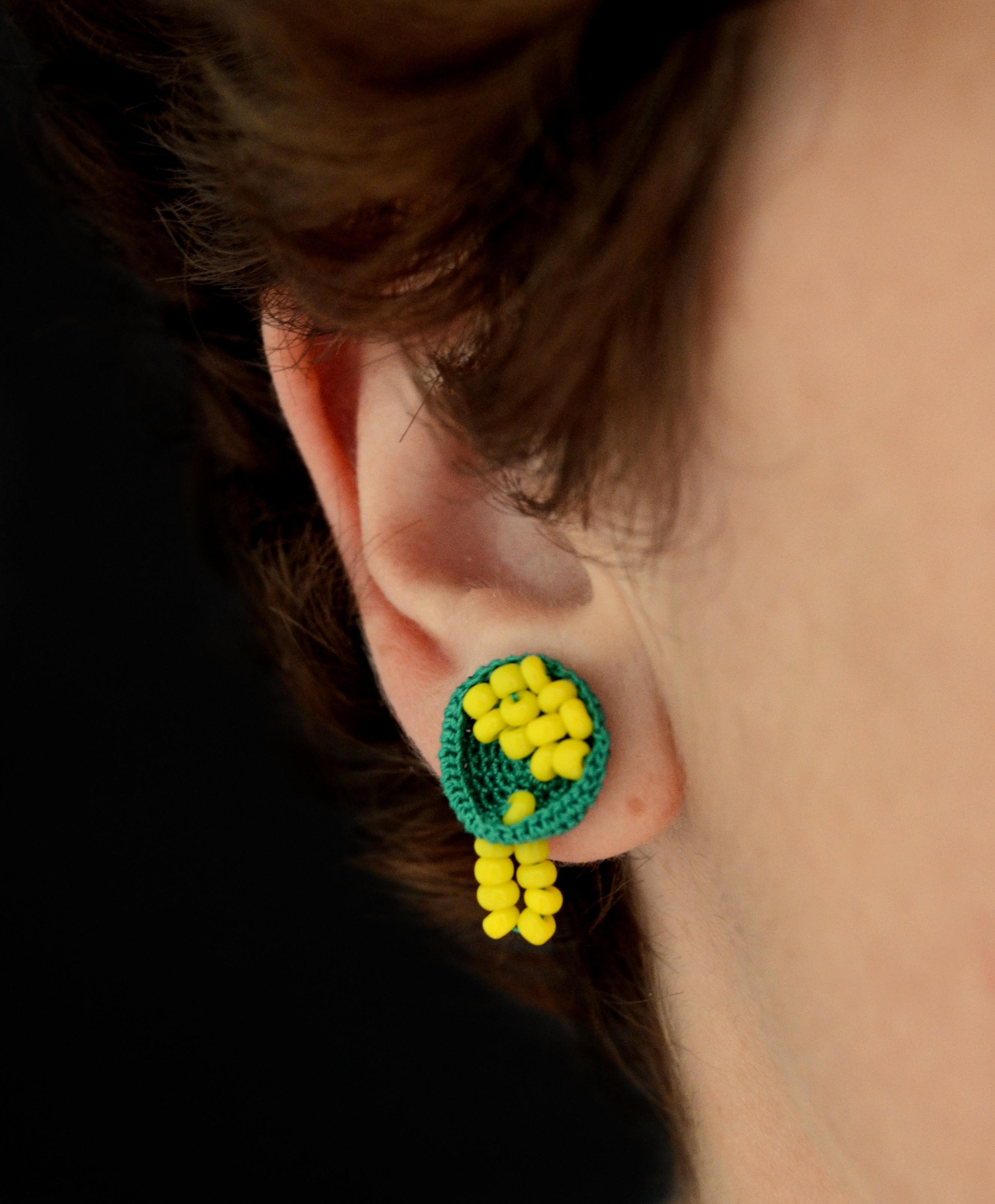 Crochet earrings - Lime