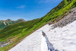 鷲羽を観ながら雪渓をトラバース