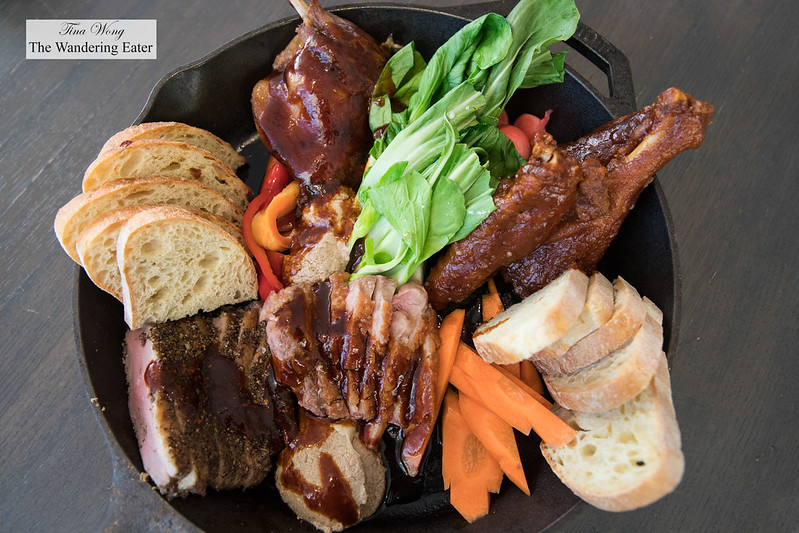 Duck for Four - Roast duck breast, smoked pastrami style duck breast, duck leg confit, fried duck wings, various pickled vegetables (carrots, radishes, bell peppers), raw bok choy, duck liver aioli and fresh bread