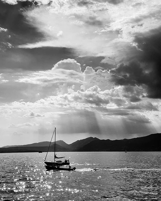 Board #boats #lake #garda #gardasee #landscape #italy #italia #igers #igersitalia #travelgram #photooftheday #picoftheday #sun #blackandwhite #bw #clouds #cloudy #awesome #sailing #water