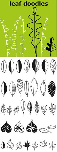 Flowers Drawings : Leaves… lots of leaves… all hand drawn… 62 of them in fact. Big ones, smal…