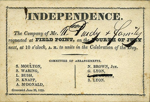 Invitation to Independence Day celebration at Field Point in Greenwich, Connecticut, dated June 20, 1825.