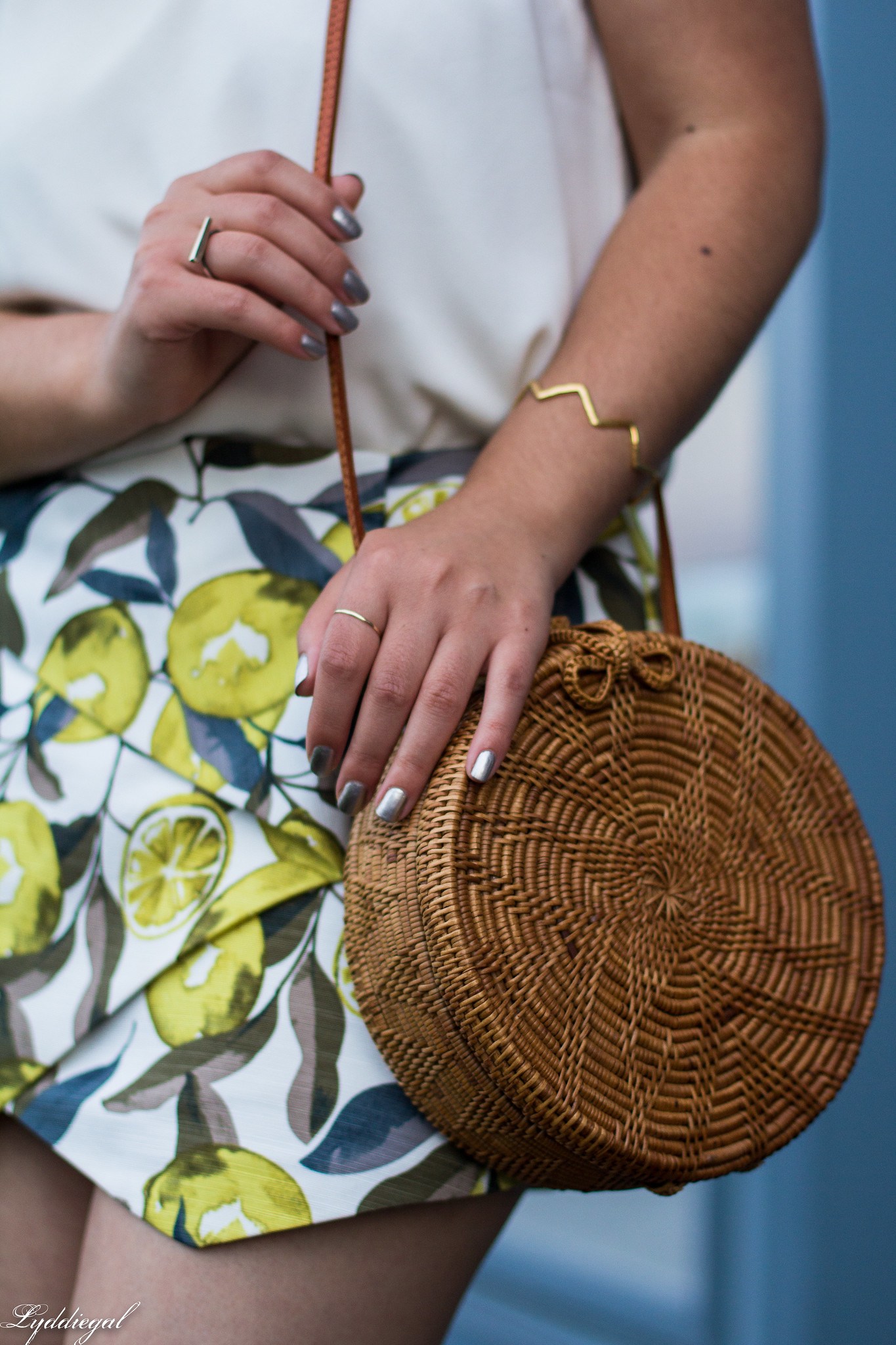 Lemon print skort, scalloped cami, round straw bag, ferragamo slides-10.jpg