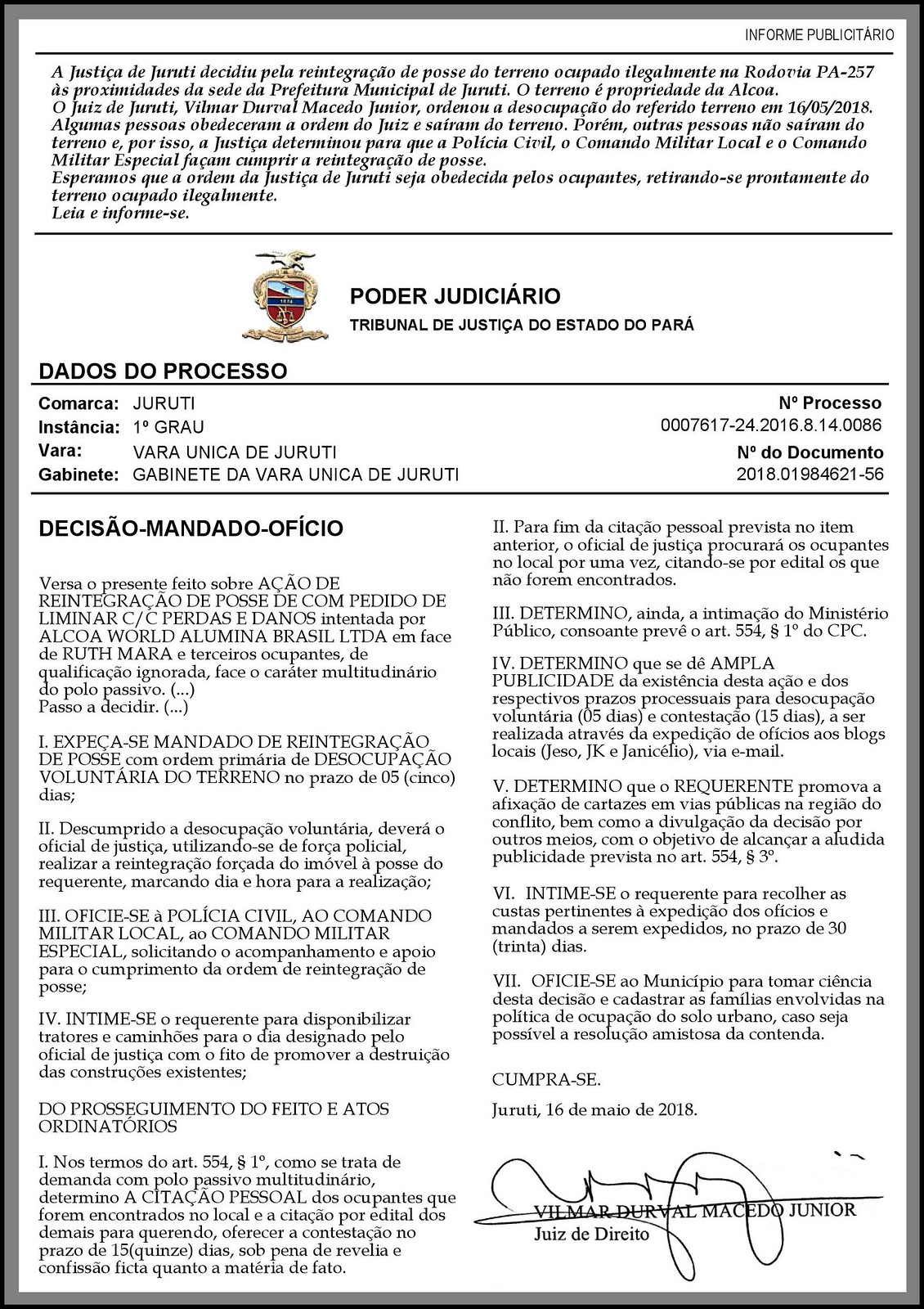 Alcoa obtém reintegração de posse de terreno ocupado em rodovia, Alcoa - decisão judicial