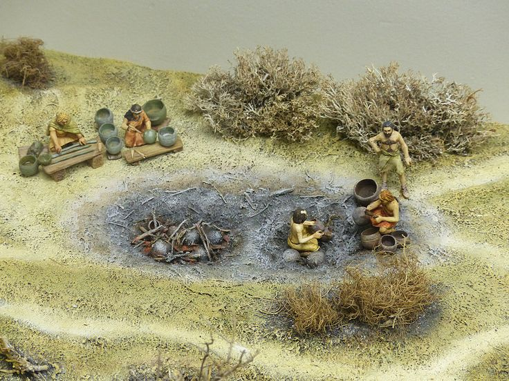 Diorama in the National Museum of Denmark portraying prehistoric earthenware creation.