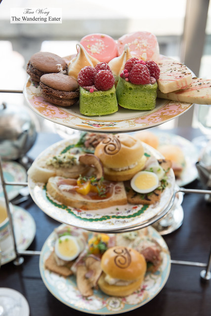 Food spread for afternoon tea for two