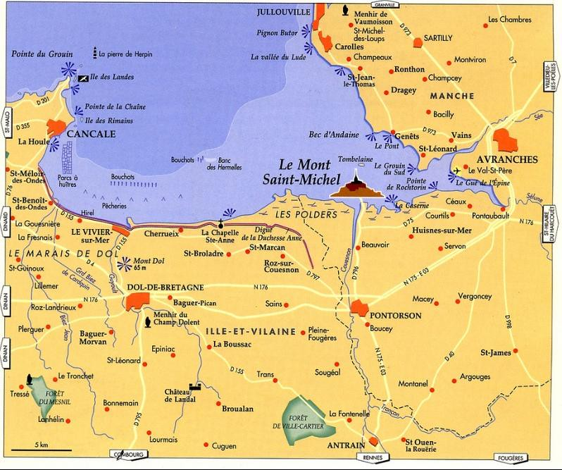 Map of northern France showing location of Mont Saint-Michel
