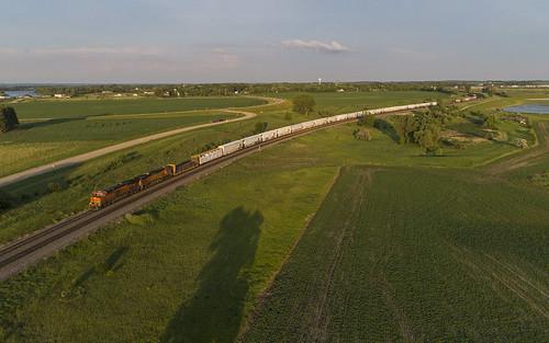 train locomotive railroad bnsf bnsfrailway staplessubdivision lakeparkmn manifesttrain drone aerialphotography dronephotography djiphantompro4v20 bnsfstaplessub