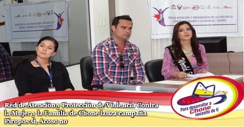 Red de Atención y Protección de Violencia Contra la Mujer y la Familia de Chone lanza campaña Piropos si, Acoso no
