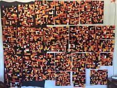Improvised quilt top blocks are getting bigger.