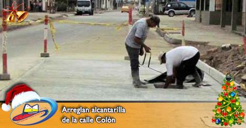 Arreglan alcantarilla de la calle Colón