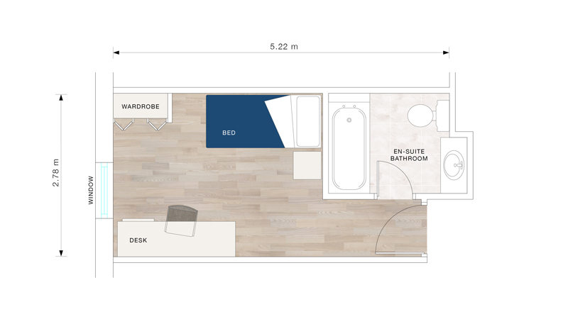 A bedroom floor plan for Polden Court