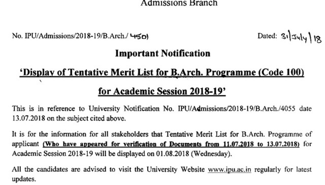 IPU B.Arch Merit List
