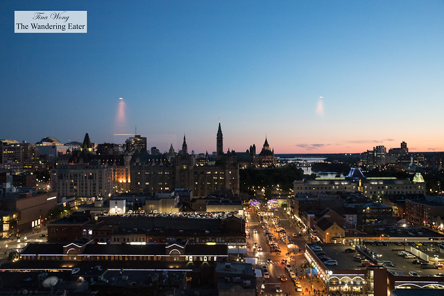 Views of Ottawa at sunset from the rooftop lounge Copper Spirits and Sights