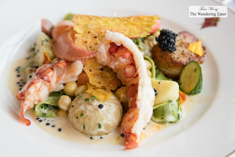 Lobster, scallop, Italian caviar, curried vegetables, pappardelle with herbs, caviar cream