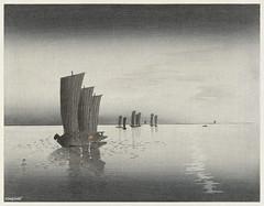 Fishing boats at dusk (1900-1920) by Ohara Koson  (1877-1945). Original from the Rijks Museum. Digitally enhanced by rawpixel.