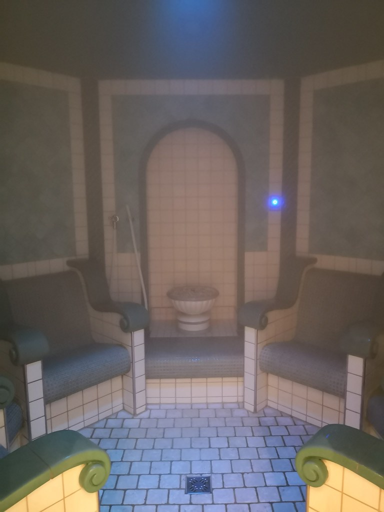 Steam room with chairs