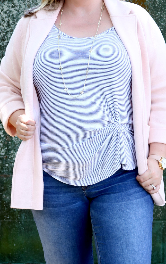 blush sweater cardigan, skinny jeans, black and white stripe luxe tank, bow flats 6