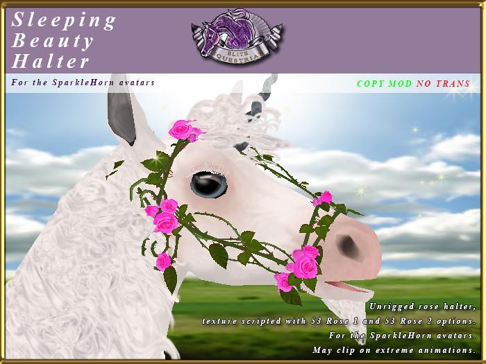 E-SparkleHorn-Sleeping Beauty Rose Halter - TeleportHub.com Live!