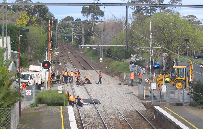 Rail works at Ripponlea, July 2008