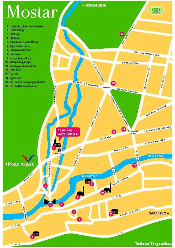 Карта Мостара с основными достопримечательностями
