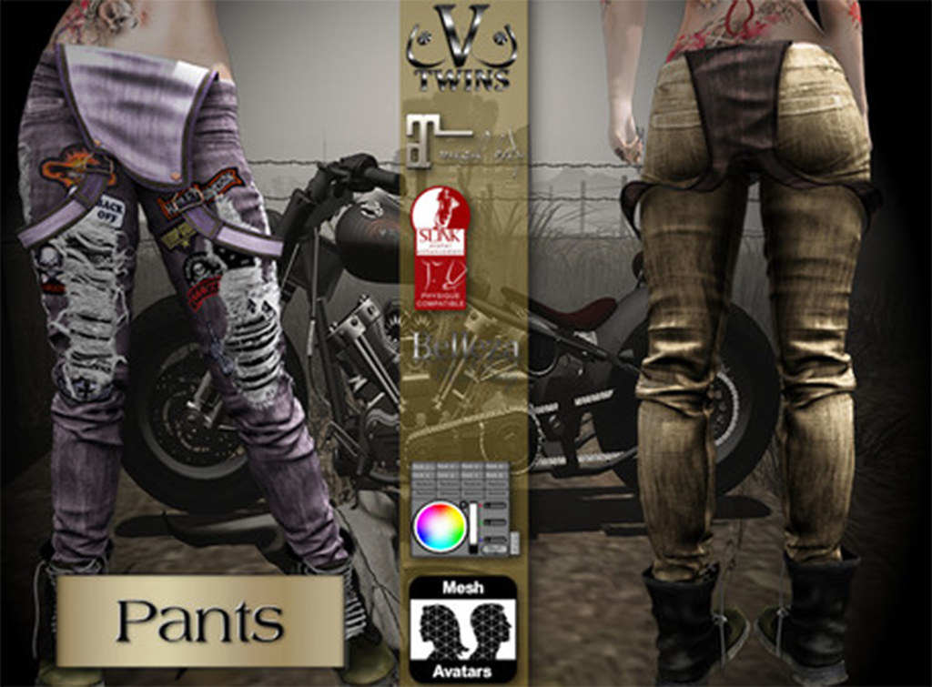 V-Twins Biker Clothes – Individual Items Mesh Pants/Jeans – Furious Color Version (Slink, Belleza & Maitreya)