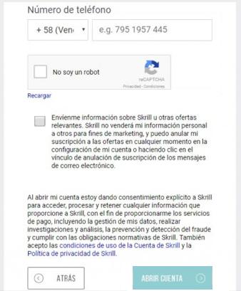 Numero telefonico formulario de registro en Skrill