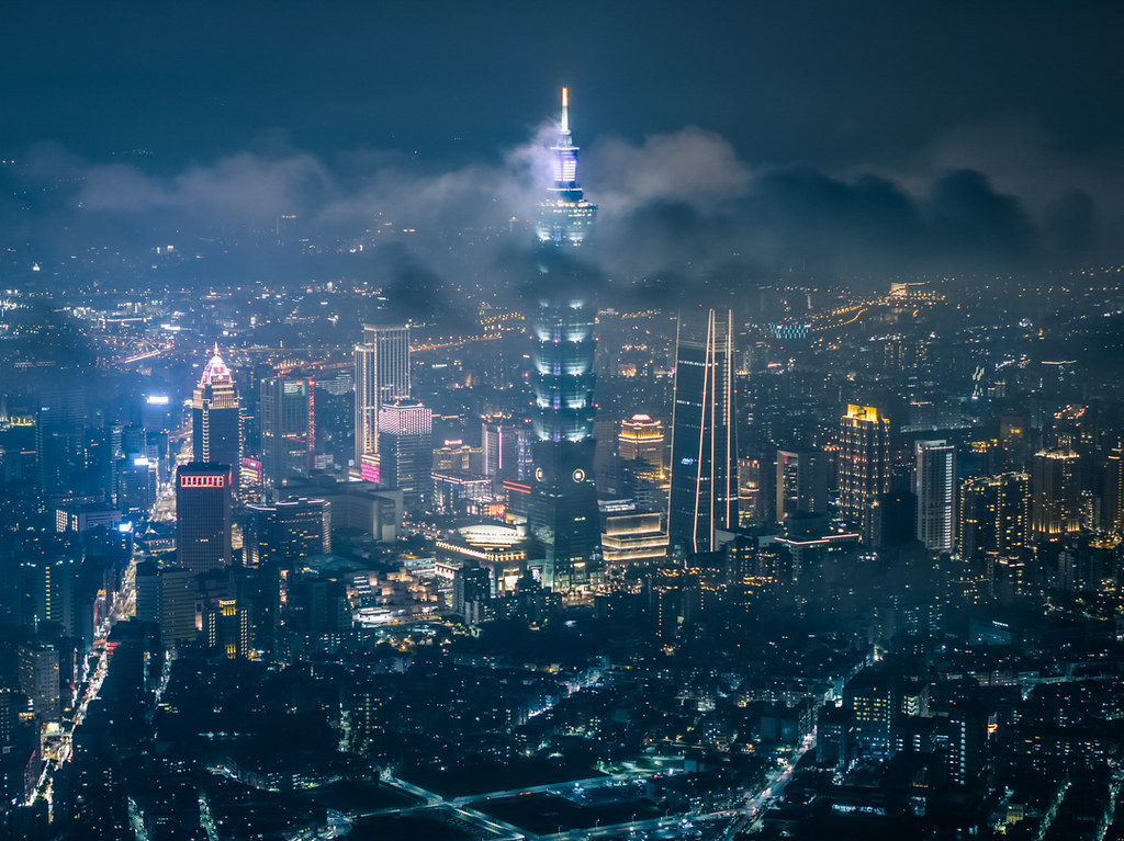 台北市の空撮夜景