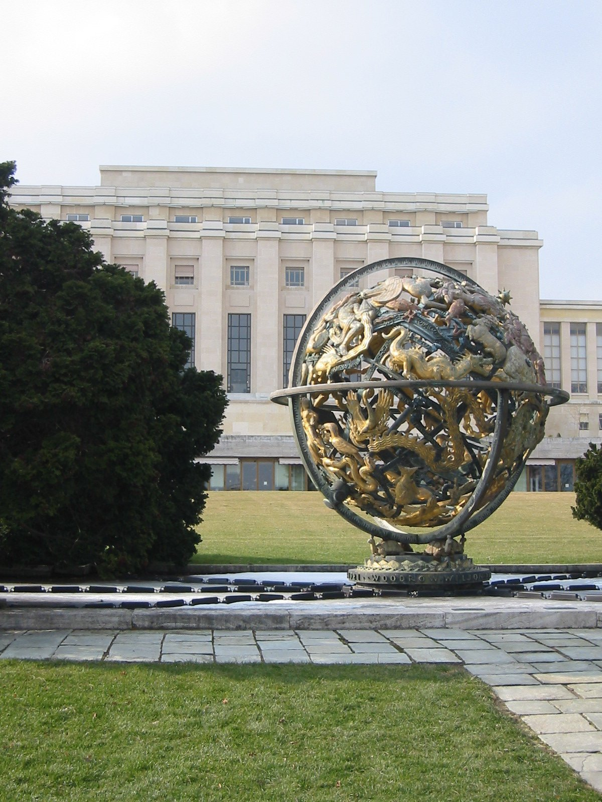 The Celestial Sphere in the garden of the Palais des Nations, Geneva. presented to the United Nations by the Woodrow Wilson Foundation. Photo taken on February 25, 2005