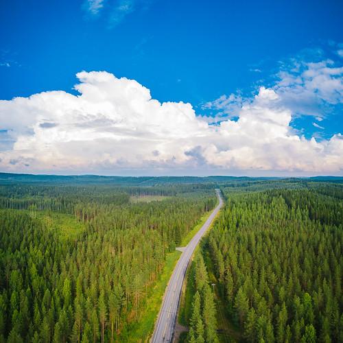 centralfinland dji europe finland jämsä keskisuomi mavic mavicpro aerial clouds drone forest horizon landscape nature road sky storm summer fi