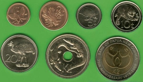 Papua 1-2-5-10-20 Toea + 1-2 Kina 1996-2008