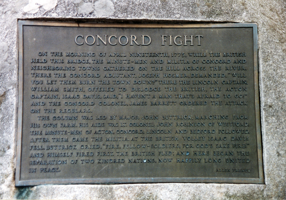 Monument inscription at Concord, Massachusetts.