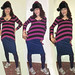 20171122 1227 - fashion show - Clio - striped purple shirt, striped blue skirt, striped blue leggings, winter hat - 42271297-32281298-53281279btr (triptych)