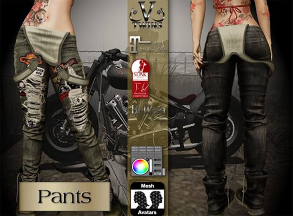 V-Twins Biker Clothes – Individual Items Mesh Pants/Jeans – Furious Black Version (Slink, Belleza & Maitreya)