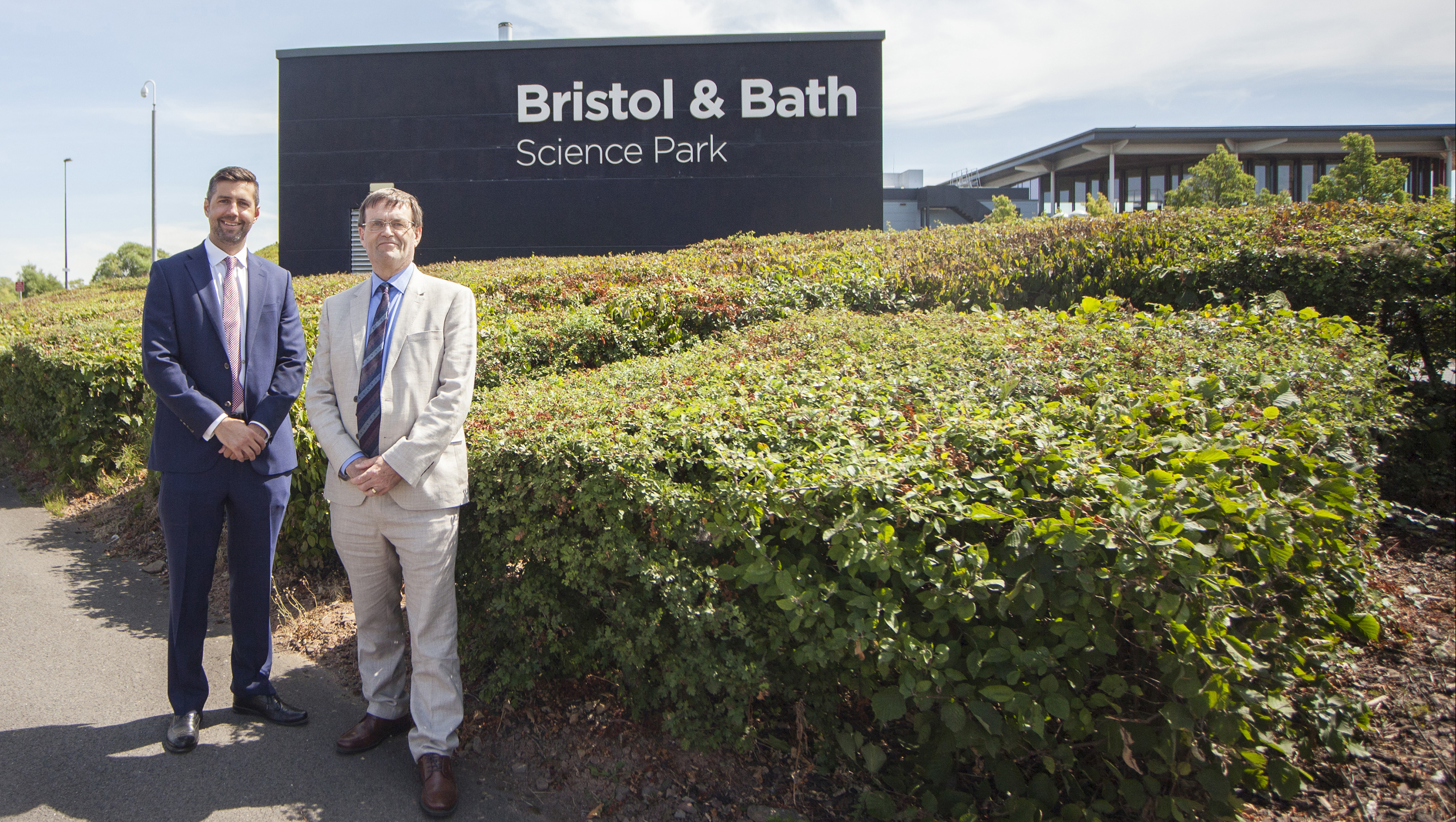 Vice-President (Implementation) at the University of Bath, Professor Steve Egan, and Leader of South Gloucestershire Council, Mr Toby Savage, celebrate the joint purchase of the Bristol & Bath Science Park.